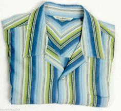 TOMMY BAHAMA Men's Short Sleeve Silk Shirt sz L Large Blue/Green Striped