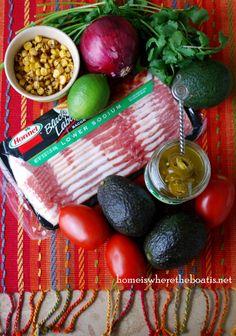 "Corn & Bacon Guacamole. If you like guacamole, the addition of corn & bacon will make you say, ""Olé"" !"