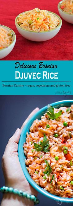 Delicious Bosnian rice dish, aka djuvec rice with onions, peppers, tomatoes, peas, and garlic is vegan, vegetarian, and gluten-free but oh so flavorful.