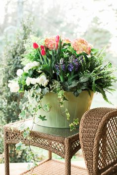28 Container Gardens for Spring: Day 15. Most of the plants are still in their pots so they can be easily replaced.