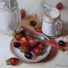 """Strawberries"" - Original Fine Art for Sale - © Elena Katsyura"