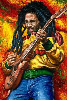 Proclaimed and accepted worldwide as the 'King of Reggae', Bob Marley charted his own course in the music industry with passion. Fotos Do Bob Marley, Bob Marley Art, Bob Marley Quotes, Reggae Bob Marley, Bob Marley Painting, Photographie Street Art, Reggae Art, Reggae Music, Rasta Art
