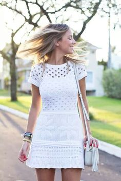 White dress Galeria Tricot Sexy Dresses, Nice Dresses, Casual Dresses, Fashion Dresses, Knit Fashion, Boho Fashion, Fashion Looks, Knit Dress, Lace Dress