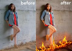 Fire Portrait before & after.