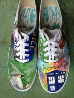 Custom Painted Fandom Shoes. $65.00, via Etsy. Contemplating buying some plain shoes and doing something similar to this to them.