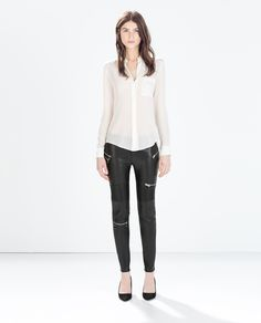 LEGGINGS WITH ZIPS AND TOPSTICHING AT KNEES-Trousers-Woman-COLLECTION SS15   ZARA United States