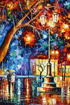 Winter Rain by Leonid Afremov Handmade oil painting reproduction on canvas for sale,We can offer Framed art,Wall Art,Gallery Wrap and Stretched Canvas,Choose from multiple sizes and frames at discount price. Rain Painting, Oil Painting On Canvas, Painting Classes, Knife Painting, Canvas Canvas, Light Painting, Cotton Canvas, Colorful Paintings, Beautiful Paintings