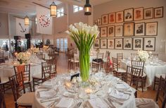 Calla lily centerpieces in the dining room.