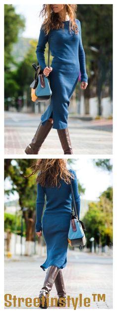 f0f093f37cd73 Fashion Knit Long Solid Color Slim Dress