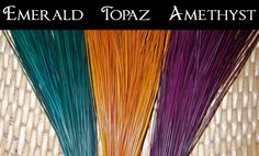 Dyed Pine Needles for Gourd Craft & Basketry Emerald/Topaz/Amethyst