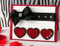 Can't wait to try this card. Looks elegant, but simple to make. I just love the chance to use the colors deep red, black and white together whenever I can.