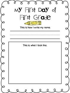 First Day of First Grade Freebie