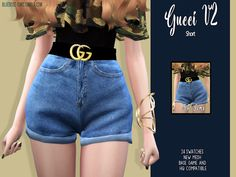 The Sims 4 BR-sims Gucci Short - teen clothing The Sims 4 Pc, Sims Four, Sims 4 Tsr, Sims Cc, Sims 4 Game Mods, Sims 4 Mods, Outfits For Teens, Summer Outfits, Sims 4 Outfits