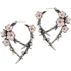 Shaun Leane Cherry Blossom Rhodalite Earrings (5.425 VEF) ❤ liked on Polyvore featuring jewelry, earrings, metallic, flower jewelry, pearl flower earrings, pink earrings, pink jewelry and pearl earrings