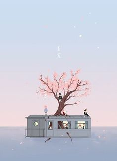 """Fan art of BTS (방탄소년단) from their music video, """"봄날 (Spring Day)"""".    Credit goes to spicybara on Tumblr."""