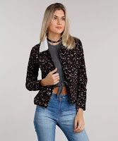 Moda jaqueta em veludo cotelê com pelo estampada floral preta