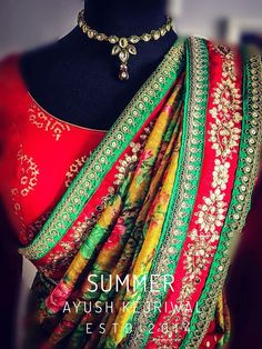 Just how gorgeous does this saree border look. Love the red and green combination with yellow saree #Frugal2Fab
