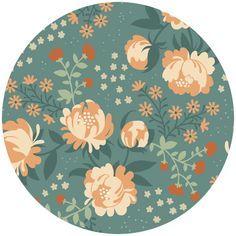 Teagan White for Birch Organic Fabrics, Acorn Trail, VOILE, Peonies Blue