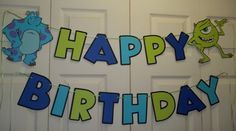 Monsters Inc Inspired Happy Birthday Banner (Sulley and Mike) on Etsy, $25.99