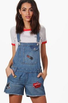 4311ee2cdea Boohoo Amelie Patch Denim Dungaree Shorts Size UK 12 rrp 25.99 Blue DH077  HH 15  fashion  clothing  shoes  accessories  womensclothing  shorts (ebay  link)