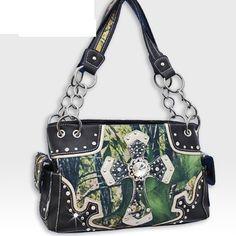 NEW! Black Camouflage Rhinestone Forest Print Cross Handbag - Super Cute!