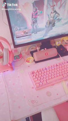 Cute Room Ideas, Cute Room Decor, Gaming Room Setup, Gaming Chair, Desk Setup, Girl Bedroom Designs, Room Ideas Bedroom, Kawaii Games, Pink Games