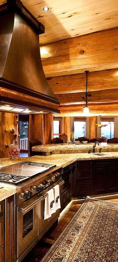 Log Cabin Kitchen I Love The Distressed White Cabinets They Make, Log Cabin  Kitchen | Log Cabin Kitchens, Cabin Kitchens And White Cabinets