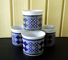 Vintage Tangier Royal Doulton 4 Coffee Tea Mugs Cup Blue Grey White Batik Short #RoyalDoulton