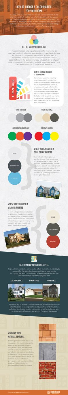 How to Choose the Right Color Palette for Your Home.  Basic concepts to consider as your select a color palette for your home. #ColorPalette #Home #HomeColorPalette   Via Custom Built RI.