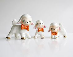 Family of Ceramic Porcelain Vintage Sheep with Orange and Yellow Spotted Bow Ties
