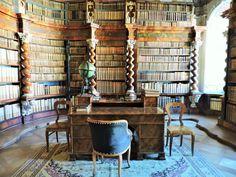 Nová Řiše #Kloster, #Sehenswürdigkeiten   Travelcontinent Nova, Bookcase, Shelves, Furniture, Home Decor, Small Places, Old Books, Indoor Courtyard, Restore