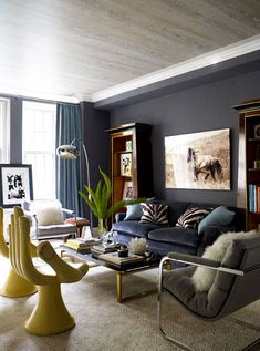 I want a hand chair. Eclectic glam living room of Ashley Stark Beautiful blues, grays, & metallics. Love the gray washed ceiling. Glam Living Room, Design Living Room, Home And Living, Living Room Decor, Living Spaces, Living Rooms, Apartment Living, Small Living, Bedroom Decor