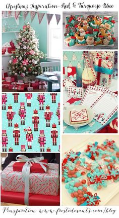 Christmas Inspiration- Red & Turquoise Blue  Christmas ideas for trimming the tree & decking the halls, holiday decor, recipes, crafts   #christmas #holiday #decorate