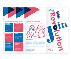"""Tri-fold Brochure for the Museum of Science and Industry (MOSI) in Manchester UK. MOSI was looking for brochure to advertise their membership campaign. With their slogan """"Join the revolution"""", I have used revolutionary red and blue. Brochure Design Layouts, Layout Design, Print Design, Graphic Design, Leaflet Design, Passion Project, Marketing Materials, Slogan, Red And Blue"""