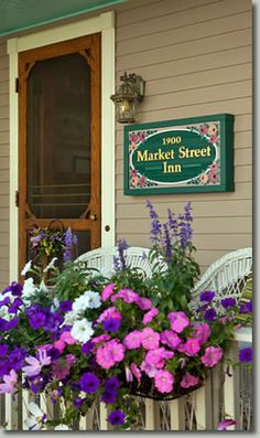Front Porch of the Market Street Inn on Mackinac Island, Michigan