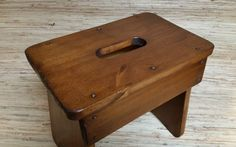 Handmade Wooden Stool - Footstool + Plant Stand + Reclaimed Pine #Unbranded #Country