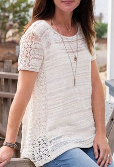 Knitting Pattern for Marbella Lace Tee Top - This top features delicate side lace panels and a flattering A-line drape. To fit: Woman's S through 3XL