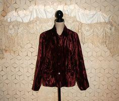 Wine Red Jacket Red Velvet Jacket Gypsy Jacket Grunge Jacket Womens Jacket Loose Fit Gyspy Clothing Coldwater Creek Large XL Women Plus Size