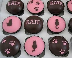 Cat Cupcakes - it is probably the most obvious and popular choice. Your cupcakes can be very creative with little fondant cats sitting on top of them, or they can be clever like these gorgeous cat and cat paw cupcakes from Cute Little Cupcakes.