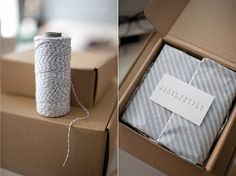 simplicity of the packaging | the texture and straight lines of the boxes | additional soft and pretty element of the twine