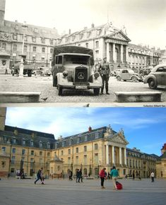 Last summer, I found a lot of WWII pictures of my city of Dijon, France. I decided to re-take them as closely as possible, after a 70 year timespan. - German troops gather in front of the Palace of the Dukes of Burgundy on June