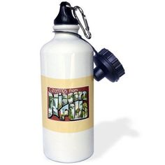 3dRose Greetings from Niagara Falls Scenic Postcard Reproduction, Sports Water Bottle, 21oz