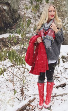 Snow Day with a plaid scarf and red Hunter rain boots - Cort In Session