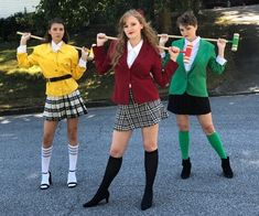 Halloween Costumes Three People, Best Group Halloween Costumes, Halloween Outfits, Group Costumes, Three Person Costumes, Heathers Costume, Sister Costumes, Halloween Kleidung, Broadway Costumes
