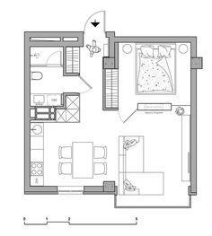 Small Apartment Interior Design by Oleg Kuiava. Small Apartment Interior Design by Oleg Kuiava - InteriorZine. Small Apartment Plans, Small Apartment Layout, Small Apartment Interior, Apartment Floor Plans, Small Apartments, Apartment Living, Apartment Ideas, Living Room, Small House Plans