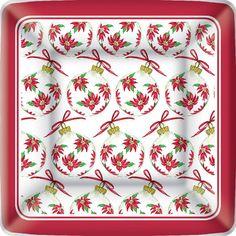 IHR Rosanne Beck Poinsettia Ornaments Christmas Floral Printed Square Paper Dessert Plates Wholesale PEK017300