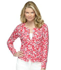 Lightweight Fine-Gauge Cardigan, Floral: Sweaters   Free Shipping at L.L.Bean