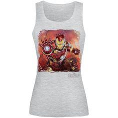 """Top donna grigio """"Age Of Ultron - Iron Man Art"""" degli Avengers con ampia stampa frontale."""