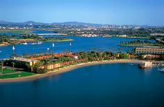 Aerial view of the Bahia Resort on Mission Bay...you can even see the William D. Evans at dock!