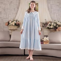 Lace Robe Nightgown Women Long-sleeved nightdress Sweet Princess Sleepwear Home Dress Lace s754 #Affiliate